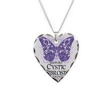 Cystic-Fibrosis-Butterfly Necklace Heart Charm