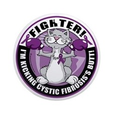 Cystic-Fibrosis-Cat-Fighter Round Ornament