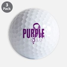 Cystic-Fibrosis-Purple-for-Son-blk Golf Ball