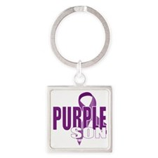 Cystic-Fibrosis-Purple-for-Son-blk Square Keychain