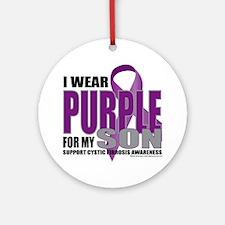 Cystic-Fibrosis-Purple-for-Son Round Ornament