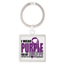 Cystic-Fibrosis-Purple-for-Son Square Keychain