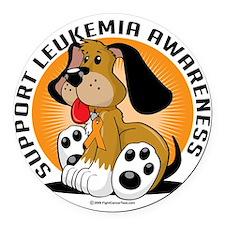 Leukemia-Dog Round Car Magnet