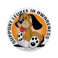 Leukemia-Dog Round Ornament