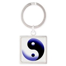 2-BLUE YIN Square Keychain