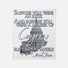 Mark Twain Idiot in Congress lights Throw Blanket