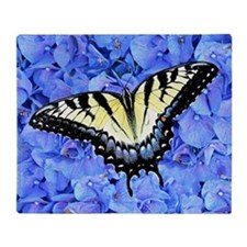 Yellow Swallowtail Butterfly, Blue F Throw Blanket