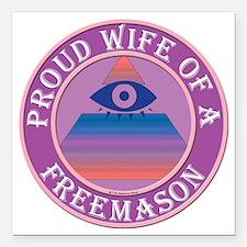 "wifemasonnosc Square Car Magnet 3"" x 3"""