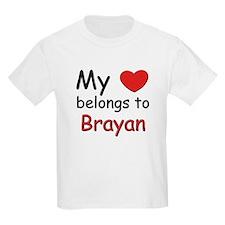 My heart belongs to brayan Kids T-Shirt