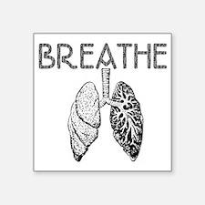 "BREATHE lungs Square Sticker 3"" x 3"""