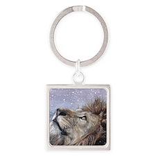 xmas_lion_HUGE Square Keychain