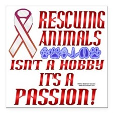 "Animal Rescuer Square Car Magnet 3"" x 3"""
