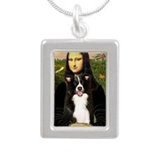 Mona Lisa - Border C - r Silver Portrait Necklace