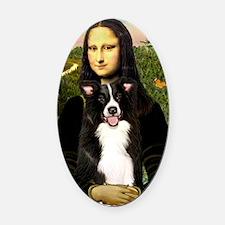 Mona Lisa - Border C - redone Oval Car Magnet