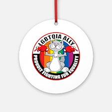 LGBTQIA-Ally-Cat Round Ornament