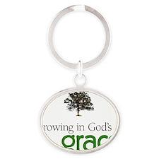 Gods graceTreeHuge Oval Keychain