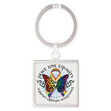 LGBTQIA-Butterfly-Tribal Square Keychain