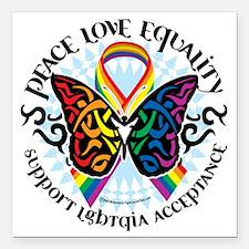 "LGBTQIA-Butterfly-Tribal Square Car Magnet 3"" x 3"""
