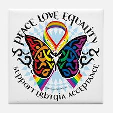LGBTQIA-Butterfly-Tribal Tile Coaster
