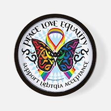 LGBTQIA-Butterfly-Tribal Wall Clock