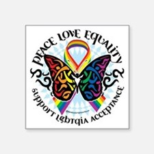 "LGBTQIA-Butterfly-Tribal Square Sticker 3"" x 3"""