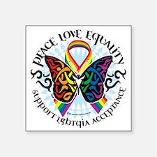 """LGBTQIA-Butterfly-Tribal Square Sticker 3"""" x 3"""""""