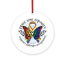 LGBTQIA-Butterfly-Tribal Round Ornament