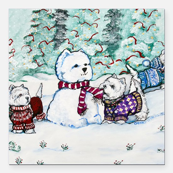 "Christmas Card NEW 4.5 5 Square Car Magnet 3"" x 3"""