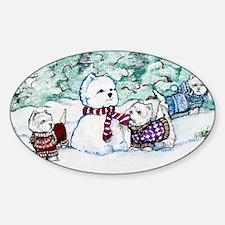 Christmas Card NEW 4.5 5.75 Sticker (Oval)