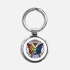 LGBTQIA-Butterfly-Tribal-blk Round Keychain