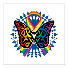 "LGBTQIA-Butterfly-Tribal Square Car Magnet 3"" x 3"""