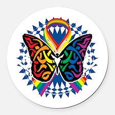 LGBTQIA-Butterfly-Tribal-blk Round Car Magnet