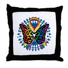 LGBTQIA-Butterfly-Tribal-blk Throw Pillow