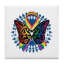 LGBTQIA-Butterfly-Tribal-blk Tile Coaster