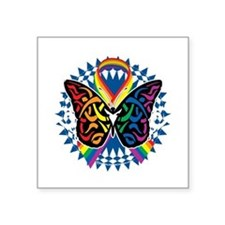 "LGBTQIA-Butterfly-Tribal-bl Square Sticker 3"" x 3"""