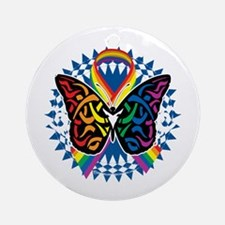 LGBTQIA-Butterfly-Tribal-blk Round Ornament