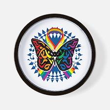 LGBTQIA-Butterfly-Tribal-blk Wall Clock