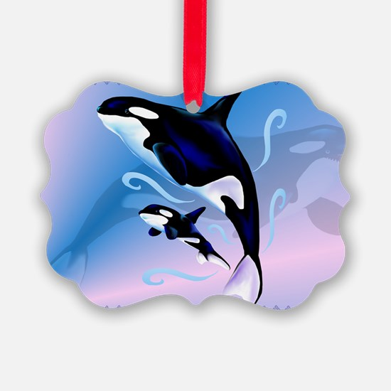 Orca Mom and Baby-Yardsign Ornament