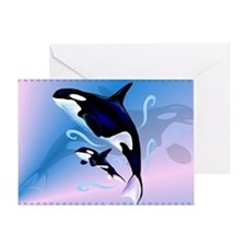 Orca Mom and Baby-Yardsign Greeting Card
