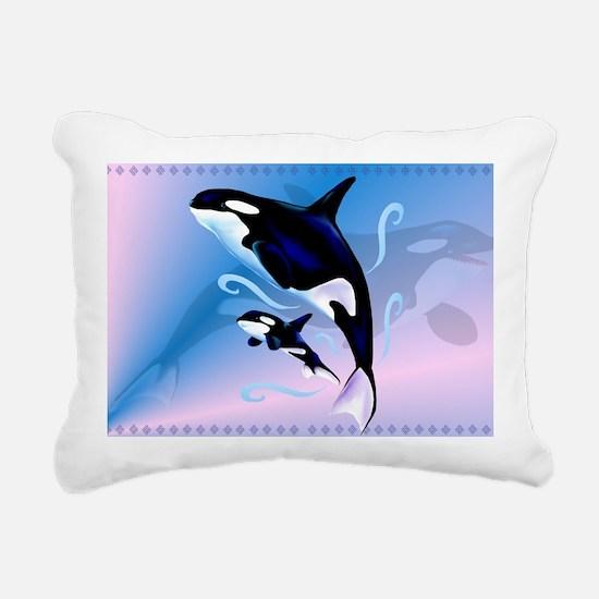 Orca Mom and Baby-Yardsi Rectangular Canvas Pillow