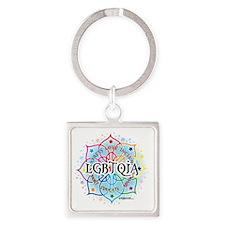 LGBTQIA-Lotus Square Keychain