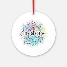 LGBTQIA-Lotus Round Ornament