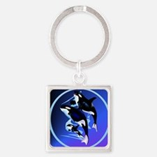 2-Orca Family-circle Square Keychain