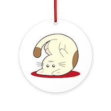 Upsidedown-cat Round Ornament