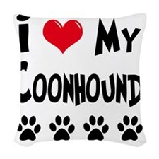I-Love-My-Coonhound Woven Throw Pillow