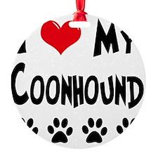 I-Love-My-Coonhound Round Ornament