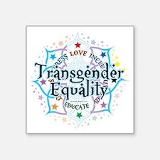 "Transgender-Equality-Lotus Square Sticker 3"" x 3"""