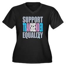 Support-Tran Women's Plus Size Dark V-Neck T-Shirt