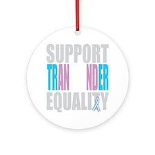 Support-Transgender-Equality-blk Round Ornament
