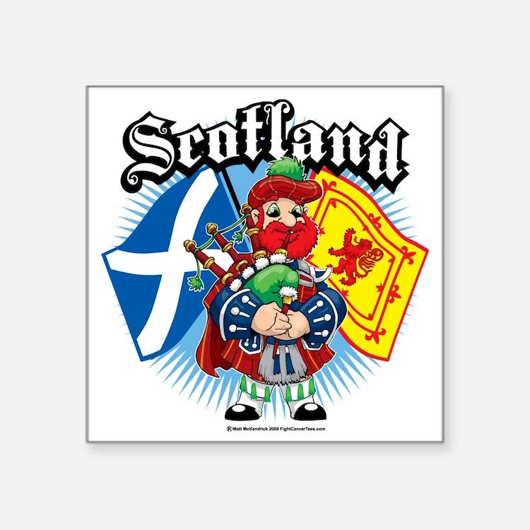 """Scotland-Flags-and-Piper Square Sticker 3"""" x 3"""""""